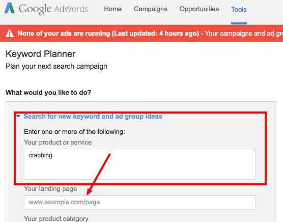 keyword planner step 1